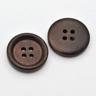 Pack of 20 4-Hole Flat Round Wooden Buttons, Coconut Brown, 20x4mm, Hole: 2mm