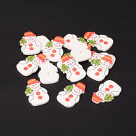 Pack of 20 Snowman Printed Wooden Sewing Buttons for Christmas