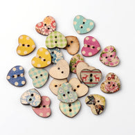 Heart 2-Hole Printed Wooden Buttons, Mixed Colour, 14x17x2mm, Hole: 1mm