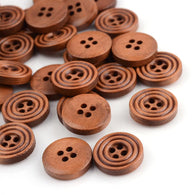 Pack of 25 4-Hole Wood Buttons, Flat Round, CoconutBrown, 14.5x3.5mm