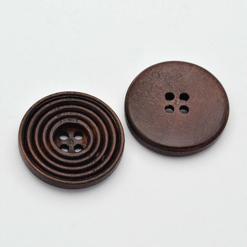Pack of 20 Wooden Flat Round Buttons, 4-Hole, Dyed, CoconutBrown, 25x4mm