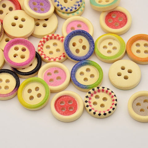 Pack of 20 Flat Round 4-Hole Printed Wooden Buttons, Mix, Mixed Colour, 15x3mm