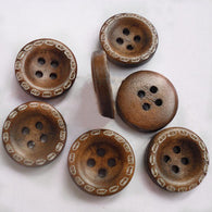 Pack of 25 Central Sunken Round Buttons, Wooden Buttons, CoconutBrown, 15mm