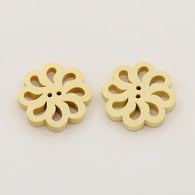 Pack of 10 Wooden Hollow Flower Buttons, Undyed, 2-Hole, Moccasin, 19x19x4mm, Hole: 1mm