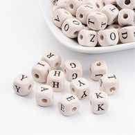 Pack of 50 Wood Beads, Cube with Letter, 10mm long, 10mm thick, hole: 3mm