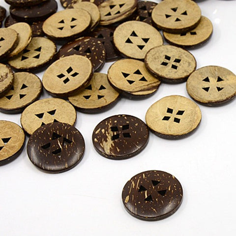 Pack of 20 Coconut Buttons, 4-Hole, Flat Round, CoconutBrown, 25x3mm, Hole: 3.5x4mm