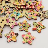 Star Printed Wooden Buttons, 2-Hole, Dyed, Mixed Colour, 24x25x3mm, Hole: 3mm