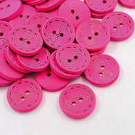 Pack of 20 2-Hole Wooden Buttons, Dyed Flat Round Button DeepPink, 28x5mm, Hole: 2.5mm