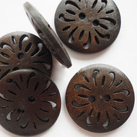 Pack of 20 Flat Round Buttons with 2-Hole, Wooden Buttons, CoconutBrown, 23mm
