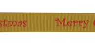 1m of Gold Merry Christmas Ribbon