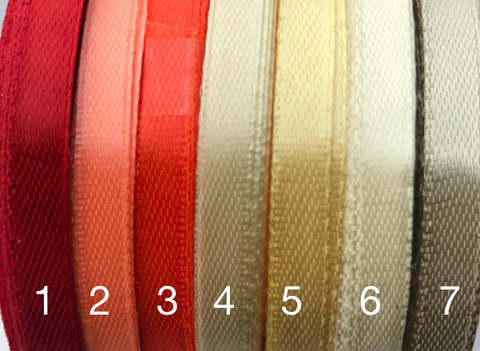 1/4 inch satin ribbon Red/Beige