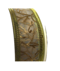 Roll of white and gold organza Christmas ribbon