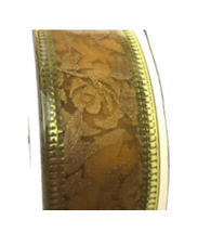 Roll of Gold rose organza ribbon
