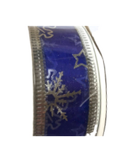 Roll of Blue organza Christmas ribbon