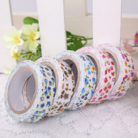 Pack of 5 Single Face Flower Printed Cotton Ribbon, with Adhesive Tape on the Other Side