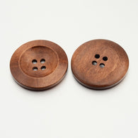 Pack of 20 4-Hole Flat Round Wooden Buttons, Peru, 30x5mm, Hole: 2.5mm