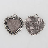 Pack of 10 Tibetan Style Alloy Pendant Cabochon Settings, Heart and Bowknots, Antique Silver, Tray: 20x20m; 31x28x2mm, Hole: 3mm
