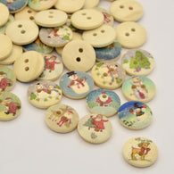 Pack of 10 Christmas Theme Flat Round Dyed 2-Hole Printed Wooden Buttons