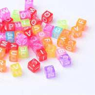 Pack of 200 Transparent Acrylic Beads, Cube with Alphabet, Mixed Colour,