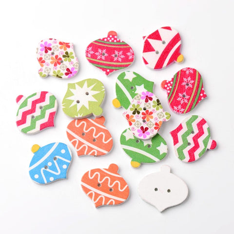 Pack of 20 Colourful Bauble 2-Hole Printed Wooden Buttons for Christmas