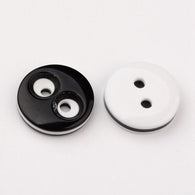 Pack of 25 Flat Round 2-Hole Resin Sewing Buttons, Black & White, 12.5x2.5mm, Hole: 1mm