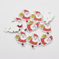 Pack of 15 Santa 2-Hole Printing Wood Buttons