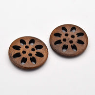 Pack of 20 4-Hole Wooden Buttons, Flat Round, Dyed, SaddleBrown, 25x5mm, Hole: 2mm