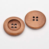 Pack of 20 4-Hole Wooden Buttons, Flat Round, Dyed, Peru, 25x5mm, Hole: 2mm