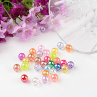 Pack of 100 Transparent Acrylic Beads, Round, AB Color, Mixed Colour, 8mm, Hole: 1.5mm