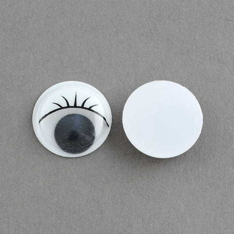 pack of 50 Wiggle Googly Eyes Cabochons With Eyelash DIY Scrapbooking Crafts Toy Accessories, White, 12x3.5mm