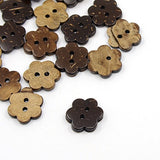 Pack of 20 Coconut Buttons, 2-Hole, Flower, CoconutBrown, 15x17x4mm, Hole: 2mm