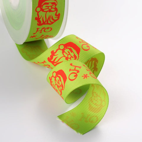 1m of Christmas Theme Polyester Ribbon, GreenYellow ho ho