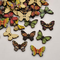 Butterfly Dyed 2-Hole Printed Wooden Buttons, Mixed Color, 17x24.5x2mm, Hole: 1mm