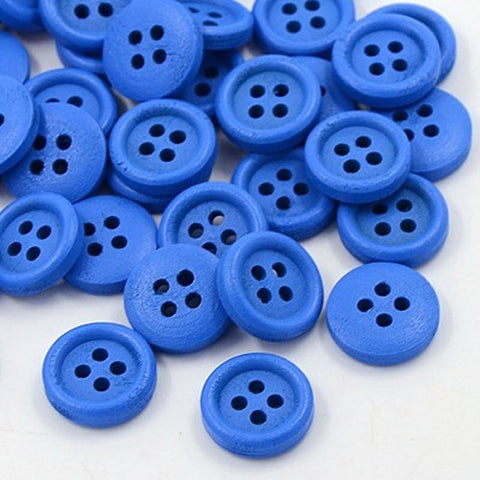 Pack of 20 Wooden Buttons, 4-Hole, Dyed, Flat Round, Royal Blue buttons, 15x4mm