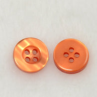 Pack of 20 4-Holes Resin Buttons, Orange, 10x2.8mm, Hole: 1mm