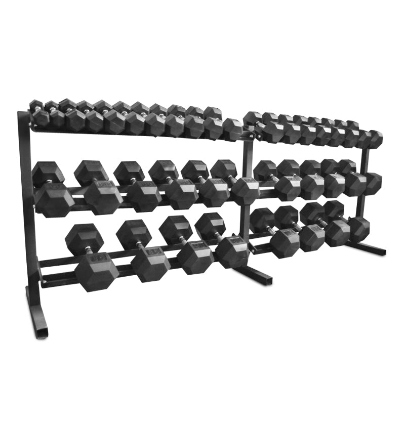rubber hex dumbbell set 5 100 the fitness armory