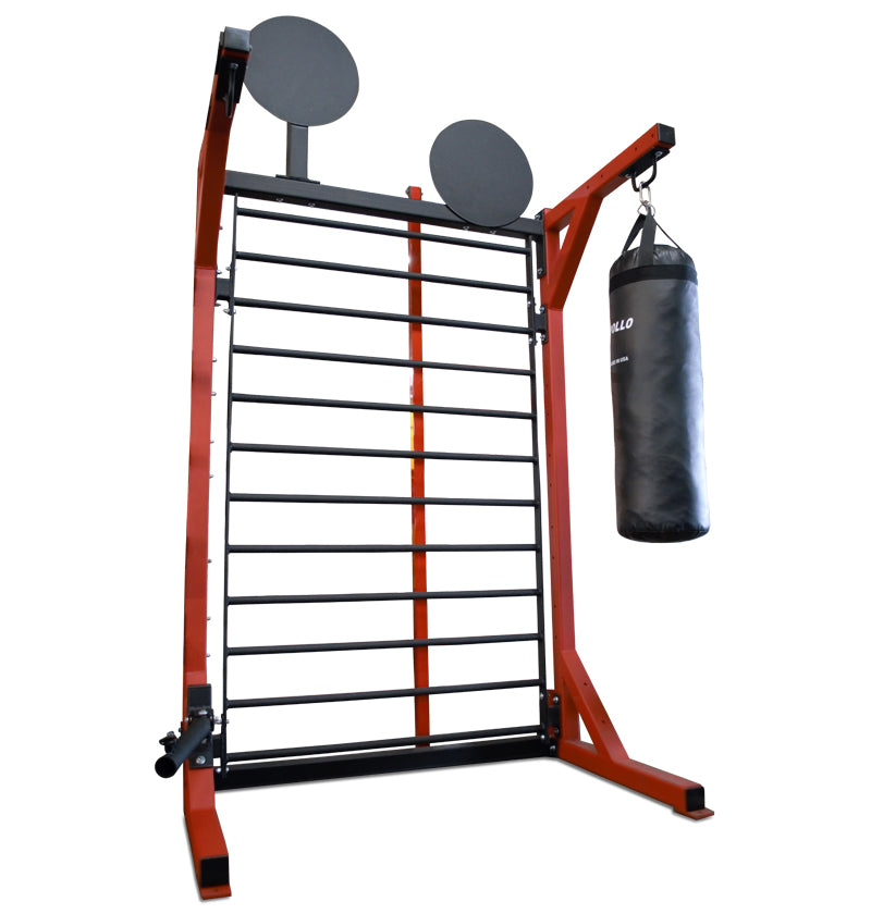 Stall Bars w/ Landmine, Wall Ball Targets, Heavy Bag Attachment