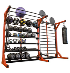 Elite Multi-Storage Rack w/ Stall Bars, Landmine, Wall Ball Targets, Heavy Bag Attachment