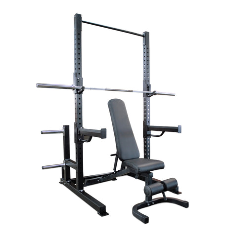 Deluxe Half Rack, Bar, Bench Package (IN STOCK) (DOORBUSTER)