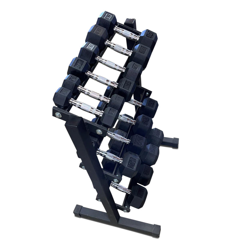 Rubber Hex Dumbbell Set 5-25 (No Rack) (IN STOCK)