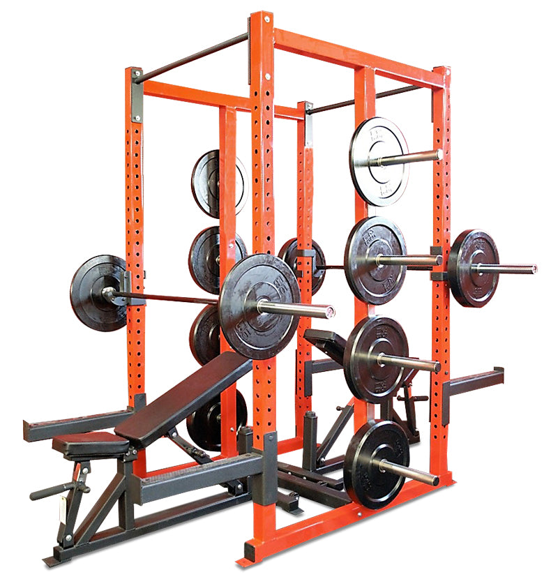 Double Sided Power Rack w/ 8 Bumper Pegs, 2 Pairs J Hooks, & 2 Pairs Safeties (8ft)