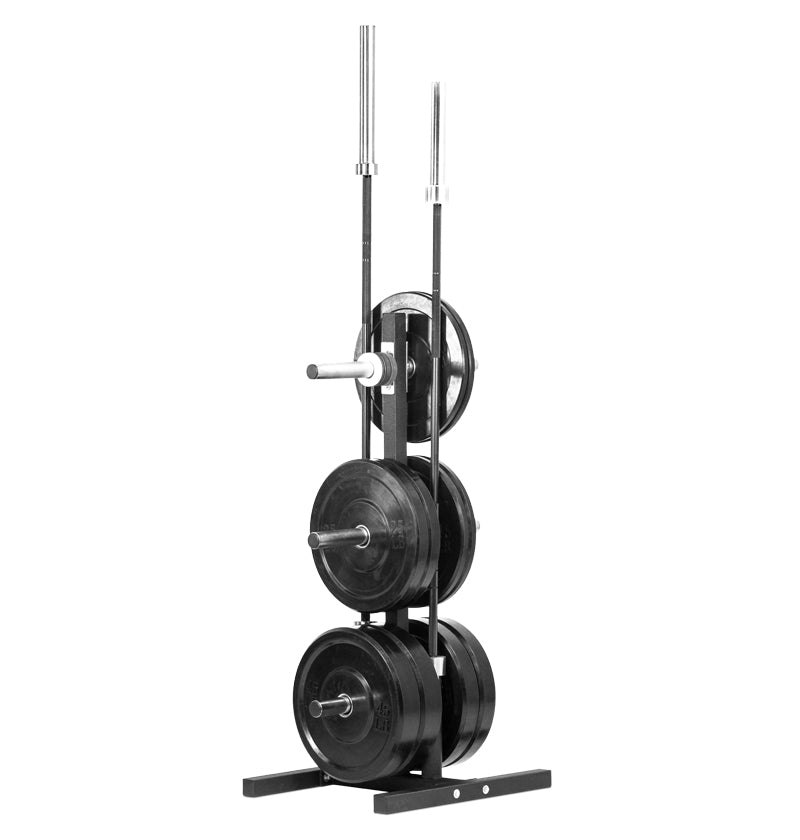 Vertical 6 peg taller bumper plate storage with 2 bar holders