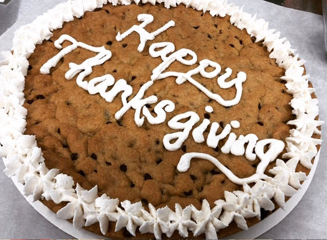 12 Inch Chocolate Chip Cookie Cake SEASONAL (Thanksgiving menu Pick up in store Nov 26 or 27)