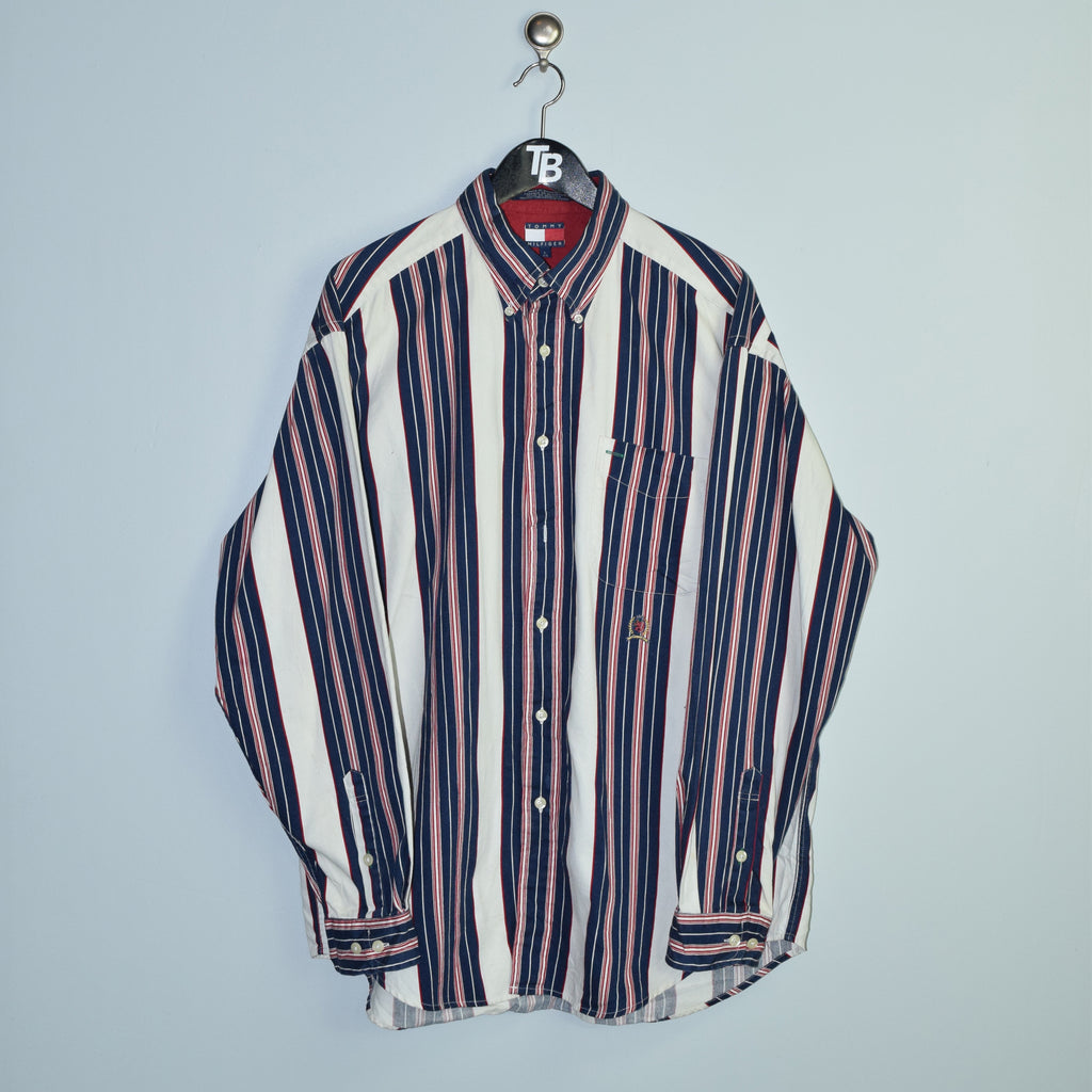 Vintage Tommy Hilfiger Crest Striped Shirt. Large
