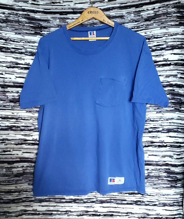 "Russell Athletics blue tee shirt ""Made in the USA "" 