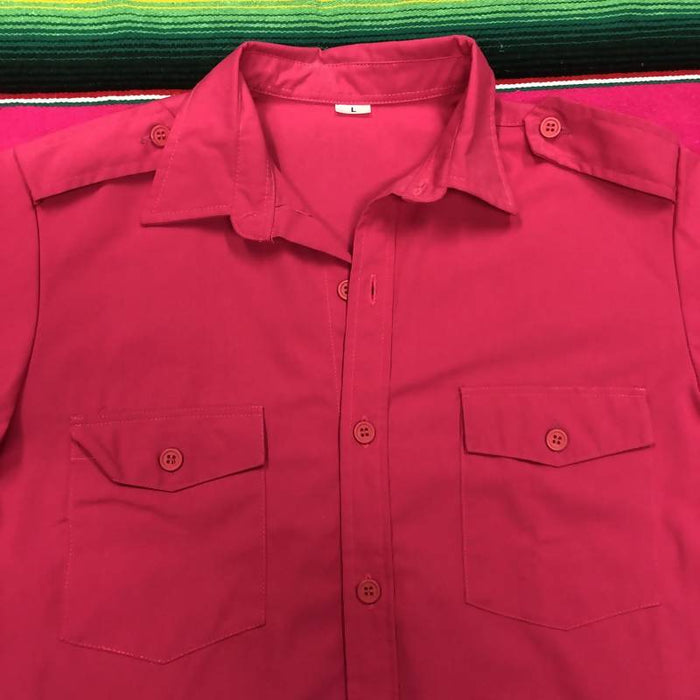 Vintage 70's Flare Collar Button-Up. Large