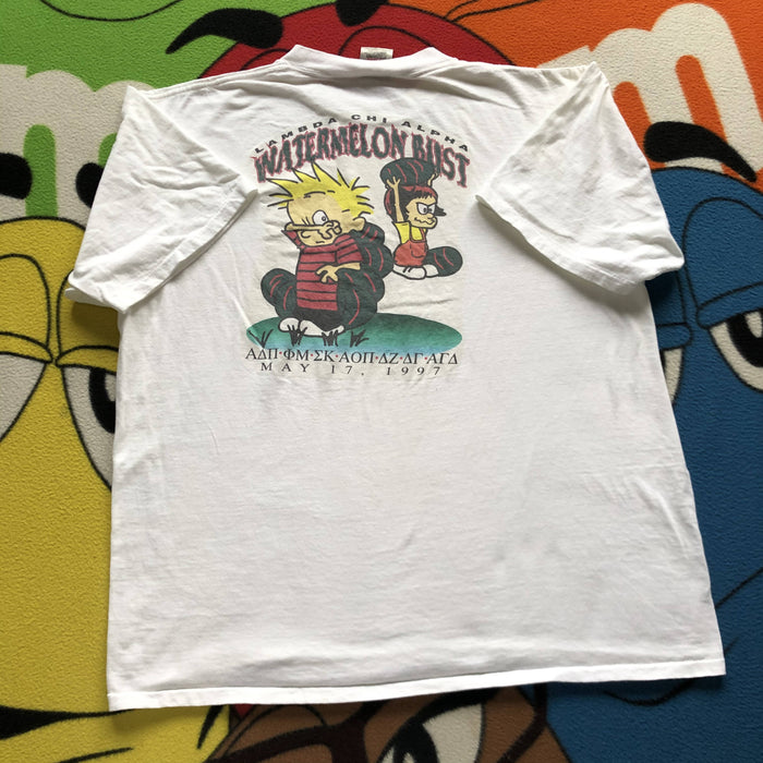Vintage Calvin Watermelon Bust Frat Tee. X-Large