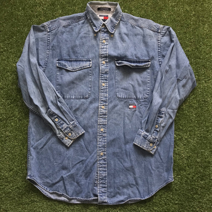 Vintage Tommy Jeans Flag Denim Button Up. Small