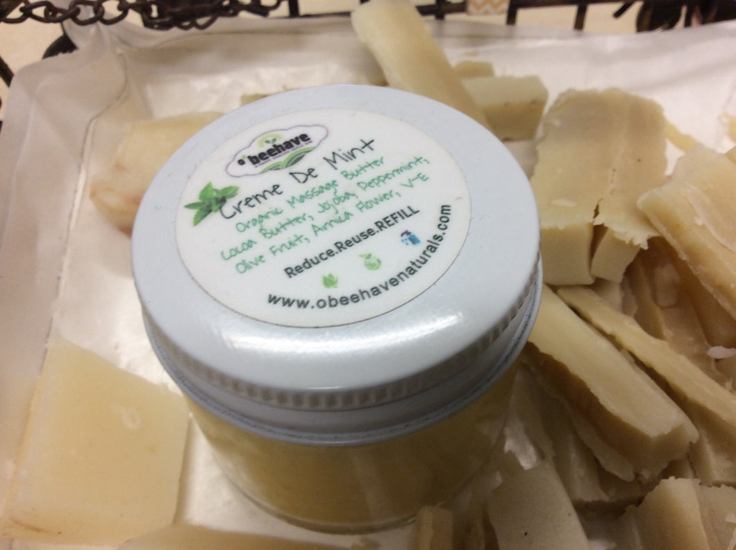 100% Organic Raw Coco Butter with Peppermint-Balms, Butters & Scrubs- Obeehave