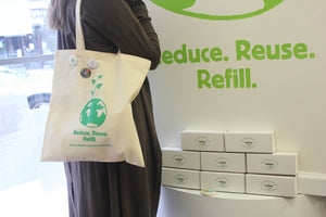 """It's Easy Being Green""  Reduce, Reuse, Refill Canvas Tote"